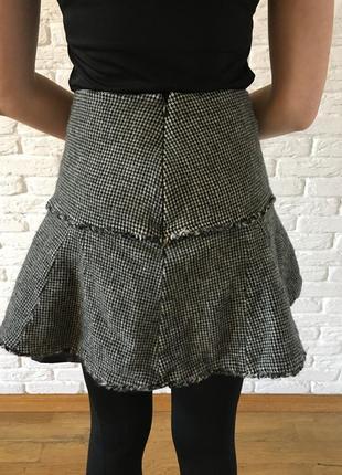 Твидовая юбка в клетку шерсть