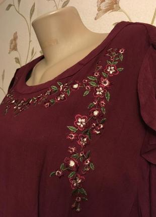 Платье с вышивкой 100% хлопок марсала cherokee