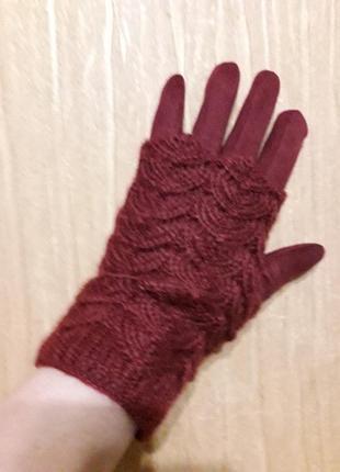Оригинальные теплые замшевые перчи со съёмной ажурной вязкой