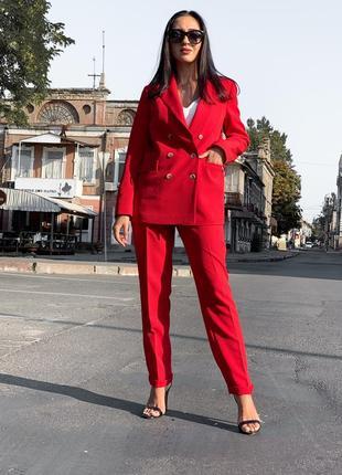 Стильный женский смарт костюм брючный жакет на подкладе и брюки ! вишня