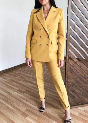 Стильный женский смарт костюм брючный жакет на подкладе и брюки ! горчица