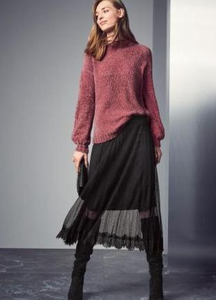 Свитер с объемными рукавами и высокой горловиной next шенилловый розовый длинный свитер