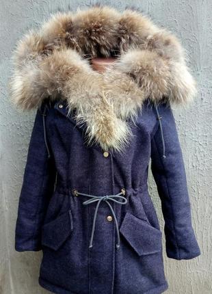 Распродажа, парка, бомбер с мехом енота, шерстяное пальто парка