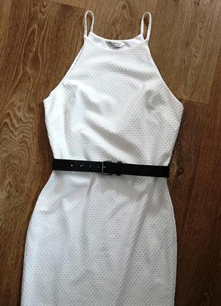 Платье-миди на бретелях miss selfridge текстурное белое облегающее платье сукня