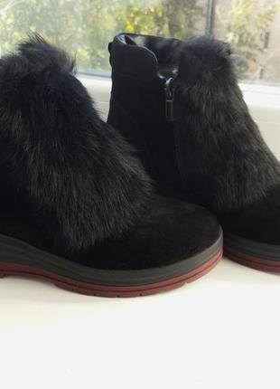 Экстра качество  замш/ботинки кролики/зимние полусапожки сапоги ботинки  37р.