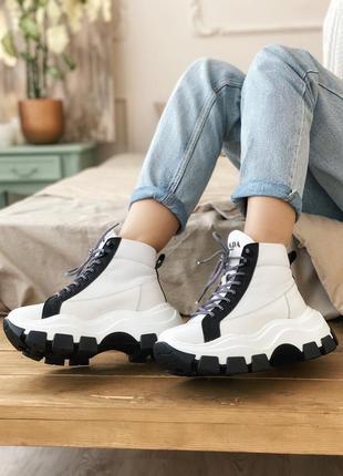 Шикарные женские хайповые кроссовки на платформе milano sneakers block white black 😍