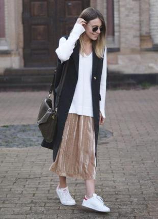 Трендовая бархатная плиссированая миди юбка на высокой талии ( h&m)