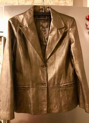 Эффектный из нат. кожи пиджак / куртка очень красивого бронзового цвета #кожаный