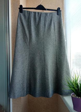 Теплая  / утепленная юбка миди клиньями с содержанием шерсти и шелка
