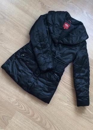 Куртка осенняя на синтепоне / пуховик на синтепоне воротник натуральный мех