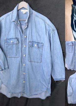 Джинсовая рубашка н&м как новая хл или оверсайз