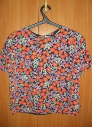 Свободная короткая шелковая цветочная блуза футболка 100% шелк whistles /англ 14
