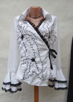 Красивая нежная белая блуза рубашка на запах margo,кружево,валан,цветы.