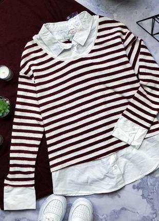 Стильный брендовый свитер с рубашкой обманкой cache cache