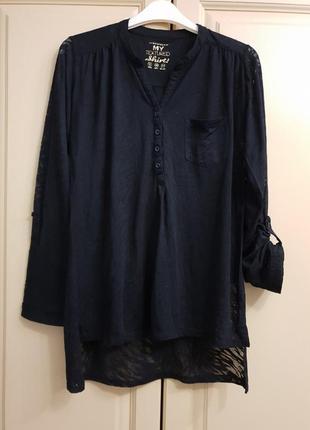 Черная удлиненная  рубашка