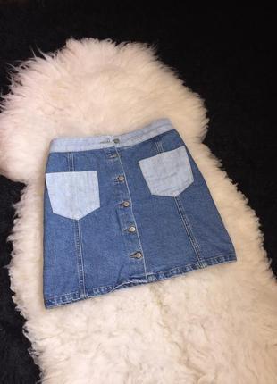 Юбка мини джинсовая комбинация карманы пуговки трапеция