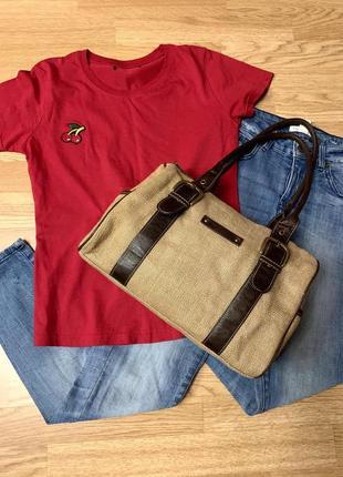 Фирменная яркая сумка h&m,деловая коричневая сумочка