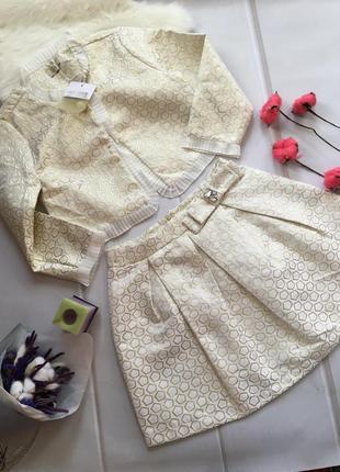 Костюм комплект нарядный для девочки юбка и жакет италия