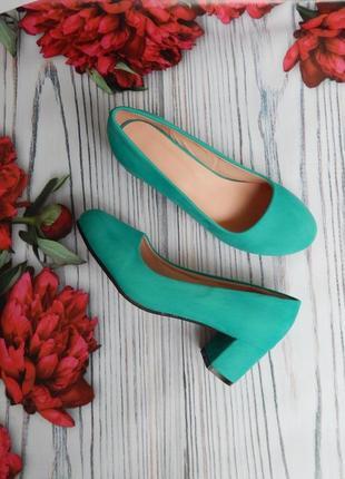 🌿натуральные, красивые замшевые бирюзовые туфли. размер 40-41. стелька 25.5см🌿