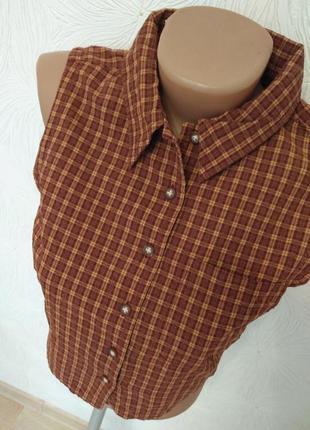 Укороченная короткая рубашка в клетку с-м размер