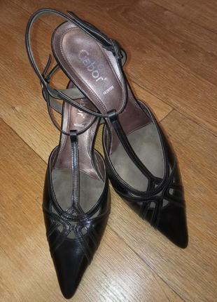 Туфли кожа с окрытой пяткой, мюли! босоножки gabor, made in austria. 38-38'5! новые!