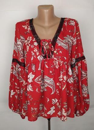 Блуза модная красная в принт uk 12/40/m