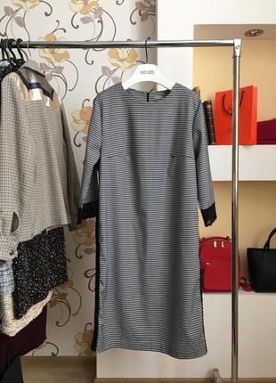 Стильное , повседневное платье в клеточку , большой размер