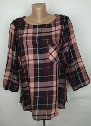 Блуза рубаха стильная в клетку большого размера marks&spencer uk 18/46/xxl