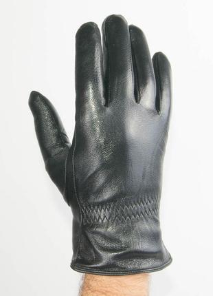 Мужские кожаные перчатки с махровой подкладкой