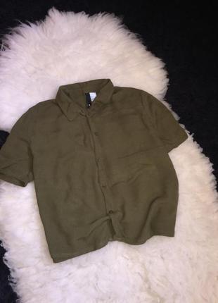 Хаки вискоза милитари укороченная футболка-рубашка блуза