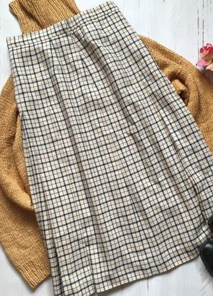 Тёплая юбка-миди в клетку (m/l)