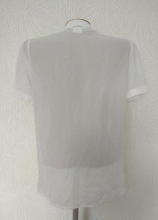 Белая шифоновая блуза с бантом м-л размер