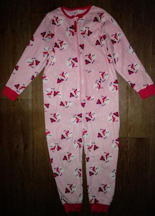 Слип,пижама nutmeg флис в новогоднем стиле на 7-8лет(122-128см).