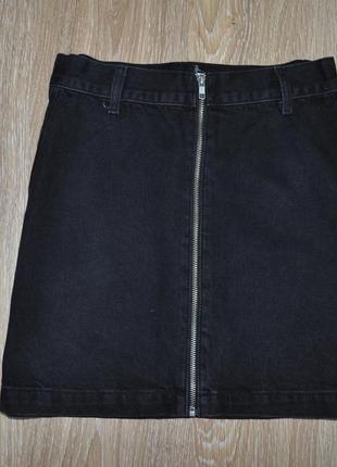 Актуальная черная джинсовая юбка высокая посадка topshop завышенная талия