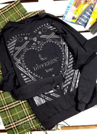 Черный свитшот с воланами на рукавах wiya