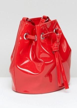 Виниловая красная лаковая сумка/мешок monkl