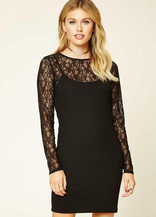 Двухслойное платье с гипюровой сеткой.forever 21. размер 48-50 новое.