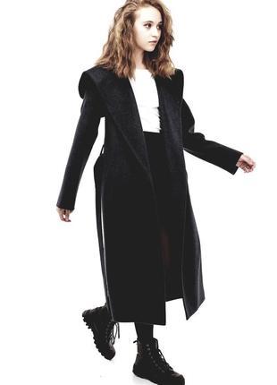 Длинное пальто халат с капюшоном