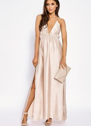 Новое нежное пудровое платье в пол с открытой спиной