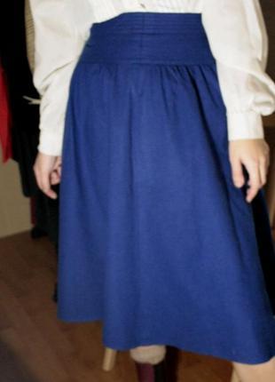 Юбка шерстяная синяя миди винтаж ретро теплая юбка высокая талия