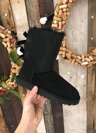 Крутые уги ❄️ugg bailey bow boot black ❄️ на овчине