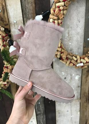 Крутые уги ❄️ugg bailey bow boot pink ❄️ на овчине