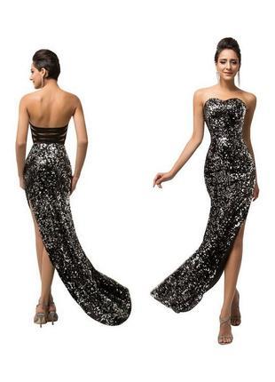 Новое блестящее черное и серебристое серебряное вечернее платье бюстье в пайетках паетки