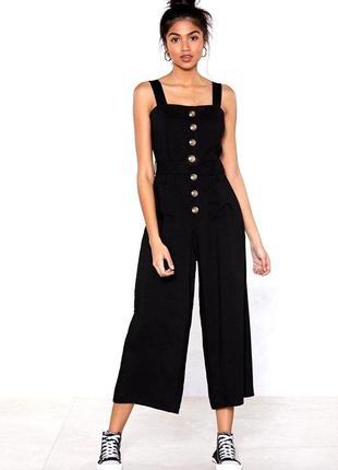 Модный актуальный черный плотный джинсовый комбинезон брючный на бретельках topshop moto