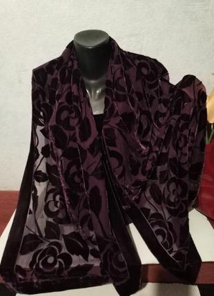 Фиолетовый палантин, большой шарф, бархат на основе натурально шелка, john lewis, 168*49