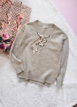 Бежевый шерстяной свитер{кофта} гэп с завязками