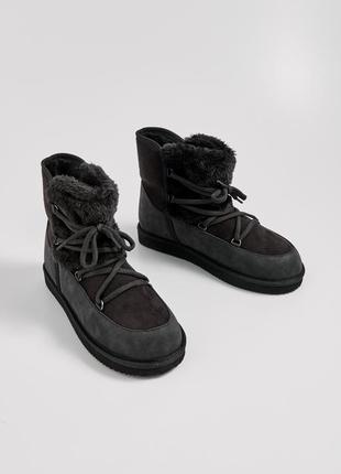 Стильные ботинки валенки угги на шнуровке + размеры