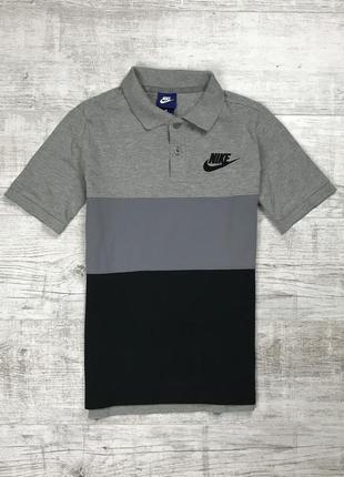 Подростковая хлопковая футболка nike поло серо чёрное на 12-13 лет