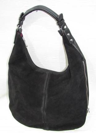 Сумка кожаная чёрная черная замшевая женская экокожа натуральная замша мешок вместительная