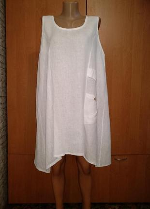 Льняное платье туника лен пог-55 см